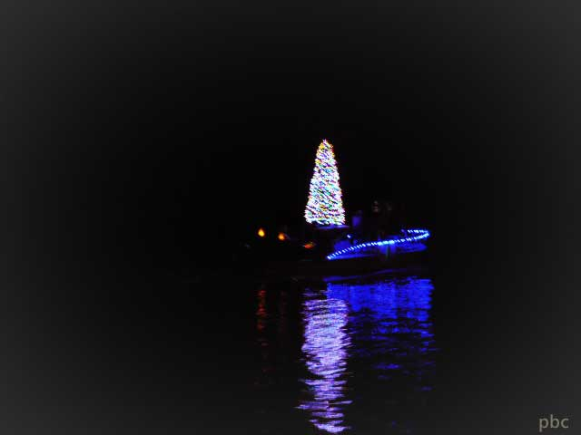 Blue-boat-with-a-Christmas-tree
