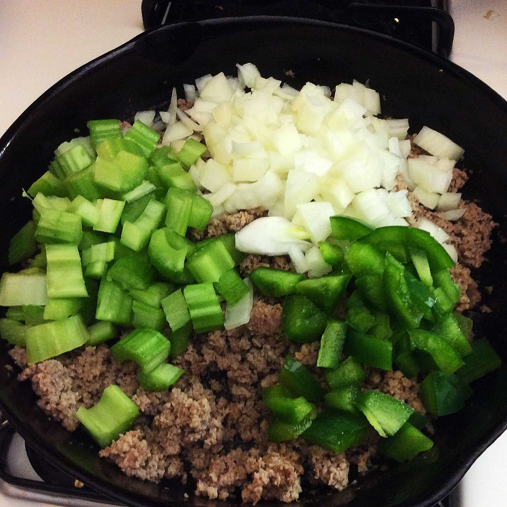Add-celery-and-onion-and-green-pepper-to-ground-turkey