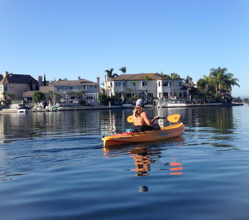 girl kayaking on Lake Mission Viejo